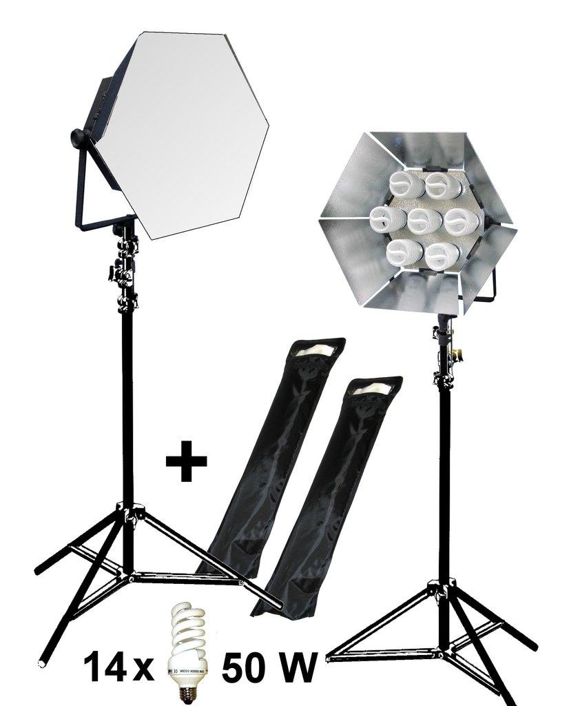 Taglicht dauerlicht set 2x1750 w mit stativen lichtklappen for Foto lampen